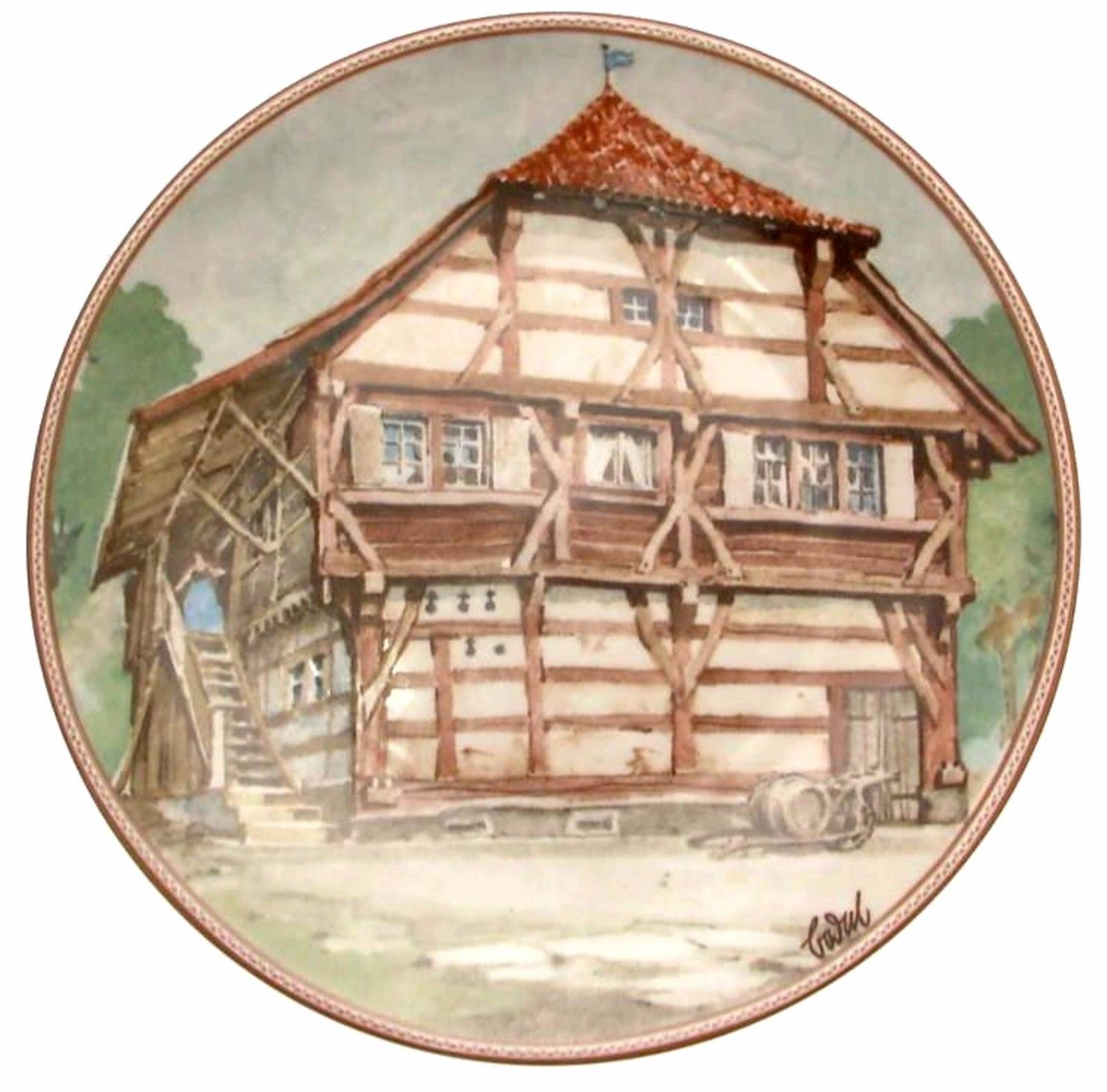 Bodenseehaus in Immenstaad Karl Bedal German Half Timbered House Plate