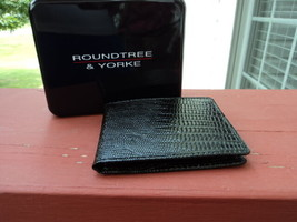 Authentic Roundtree & Yorke Mens Textured Black Leather Slim Bifold Wall... - $19.79