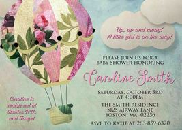 Hot Air Balloon Baby Shower Invitation Whimsical Baby Sprinkle Personalized - £0.74 GBP