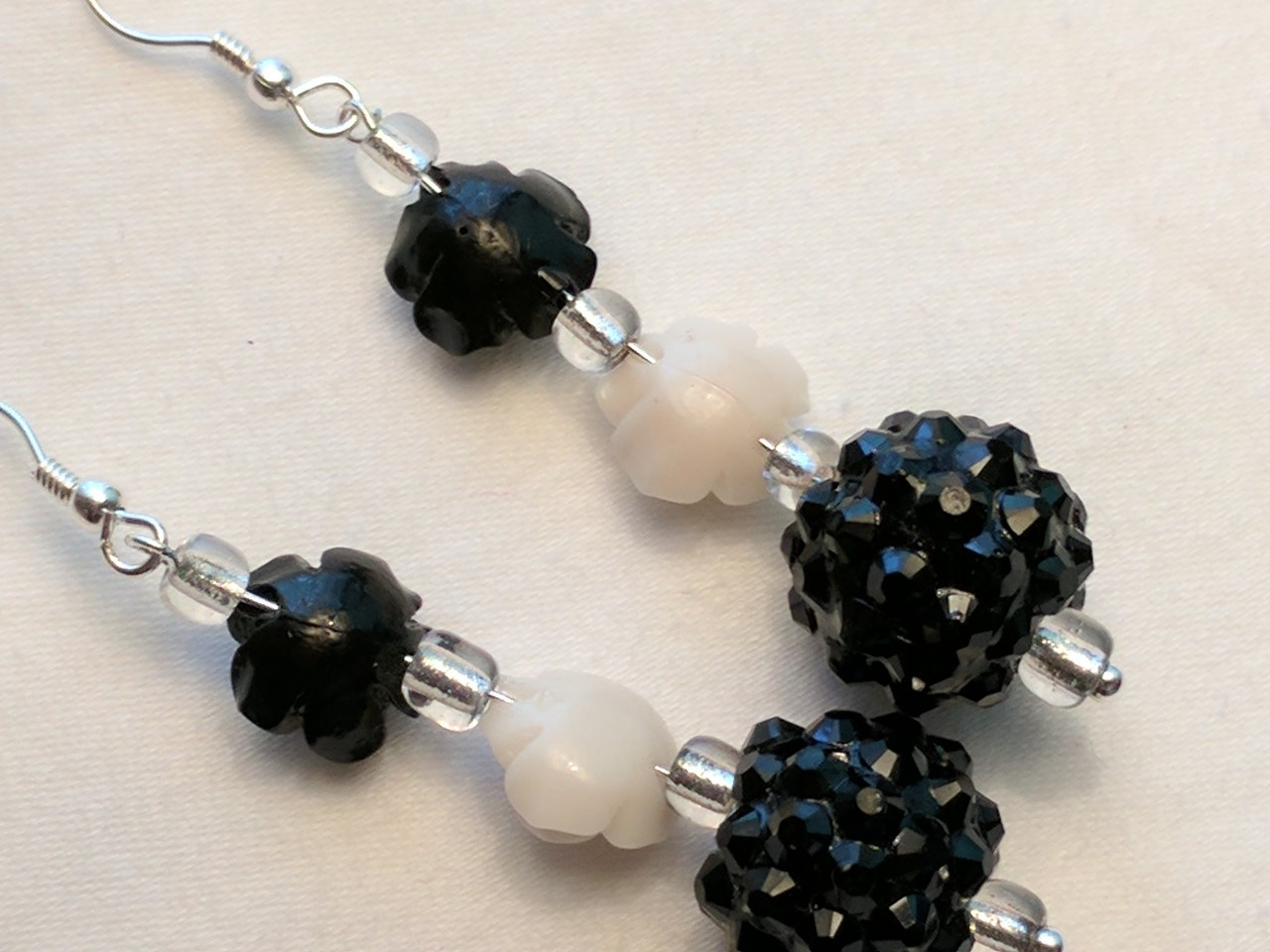 Unique Creations Black White Roses and Blackberry Drop Earrings, Custom Made