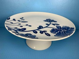 """TARGET HOME Porcelain Blue & White Floral Footed Cake Plate 11.75"""" x 5"""" - $37.61"""