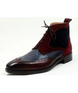Handmade Ankle High Two Tone Brogue Boots, Fashion Men Leather Casual Boots - $159.99+