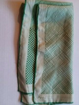 Vera Neumann Designer Vintage 100% Silk Scarf Green and Cream - $14.84