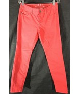Women's Red Rose Jeans Size 10 ELLE Straight Skinny Leg Cotton Blend Pants  - $12.86
