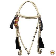 Western Horse Headstall Tack Bridle American Leather Hair Tassel Hilason U-6-HS - $58.05