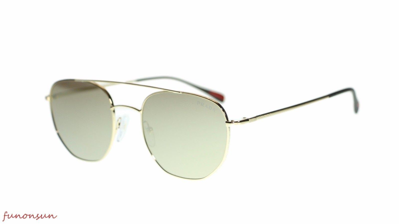Prada Men's Sunglasses PS56SS ZVN1C0 Gold Brown Gold Mirror Lens 53mm - $193.03