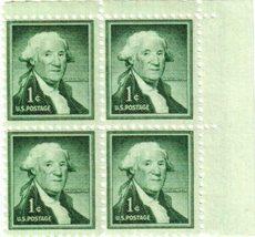 1954 1c George Washington Plate Block of 4 US Stamps Catalog Number 1031 MNH