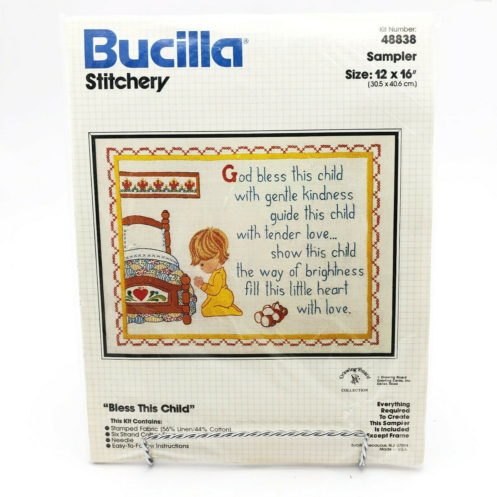 Vintage Bucilla Sampler Embroidery Kit Bless This Child 48838 Bedtime Prayer - $15.58