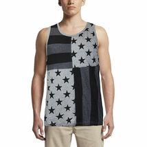 LR Scoop Men's US American Flag Summer Beach Two Tone Slim Fit T-Shirt Tank Top image 3