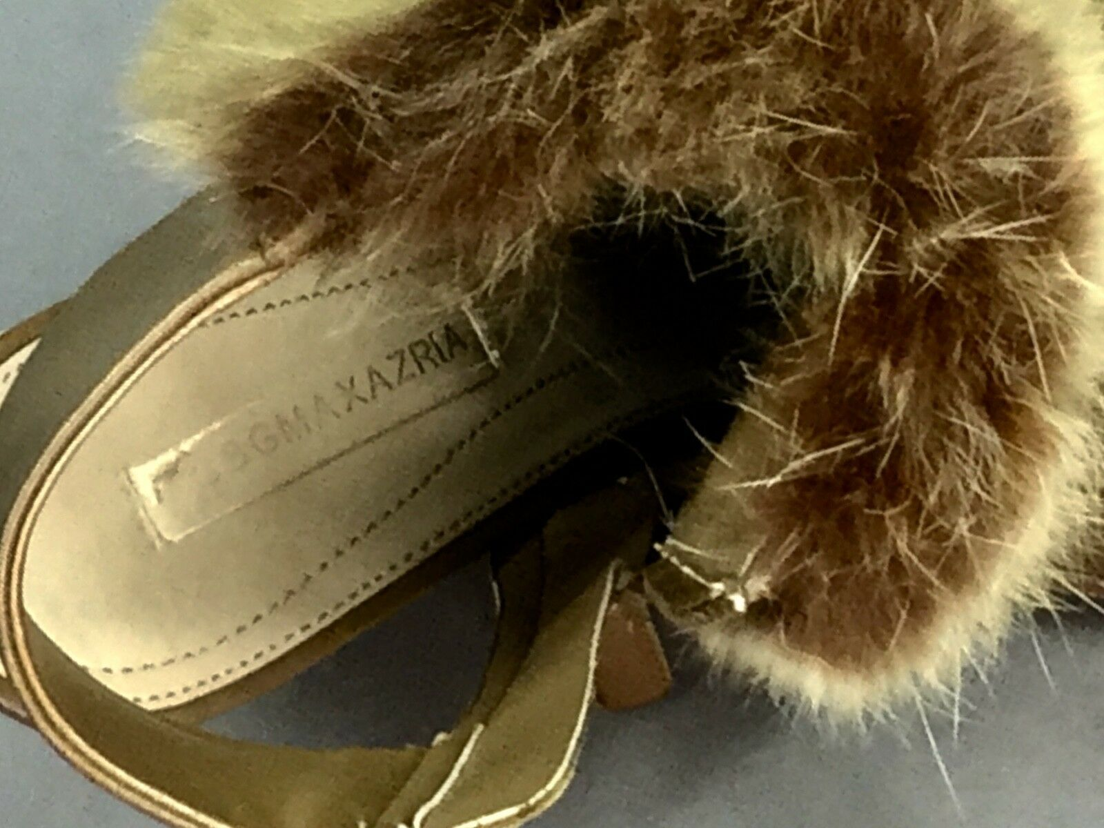 BCBG MAX AZRIA RUNWAY TASIA RABBIT FUR HIGH HEEL OPEN BACK CAMEL BOOTIE Size 9 M
