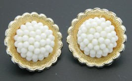 Japan White Cluster Bead Gold Tone Clip-On Retro Earrings Vintage - $19.79