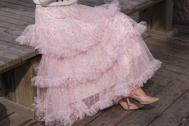 Pink Polka Dot Tulle Skirt Outfit Puffy Tiered Tulle Skirt Pink Holiday Outfit  image 6