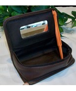Coach Leather Vintage Chubby Zip Case 6925 Mahogany Brown Mirror Cosmeti... - $79.00