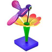 Handmade Carved Painted Alebrijes Oaxacan Wood Hummingbird & Flower Figurine image 4