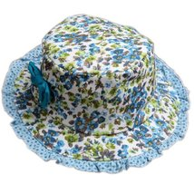 Baby Girl Sun Protection Hat Infant Floppy Hat Toddler Summer Cap Blue Lace 52CM