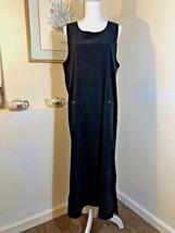 Talbots Womens Jumper Dress Size M Long Black w Pockets Pullover Stretch Modest - $22.53