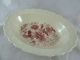 Taylor Smith Pink Castle Oval Vegetable Serving Bowl Pink Cream Scallopped edge - $12.86