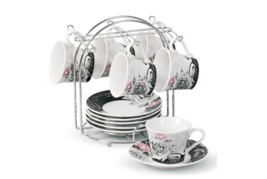 Coffee Cup Holder Set Espresso Tea Party Gifts Mom Dishes Holiday Servin... - $44.54