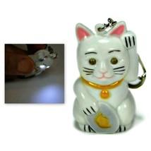 LED LUCKY CAT KEYCHAIN with Light Sound Maneki Neko Animal Noise Key Cha... - $6.95