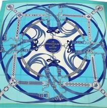Hermes Carre 140 Scarf Stole Shawl PROMENADE DU MATIN Blue Cashmere Silk... - $1,350.48