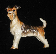 FOX TERRIER Enamel Pin Crystal Accents Brooch Gift Boxed Dog New Puppy  - $15.83