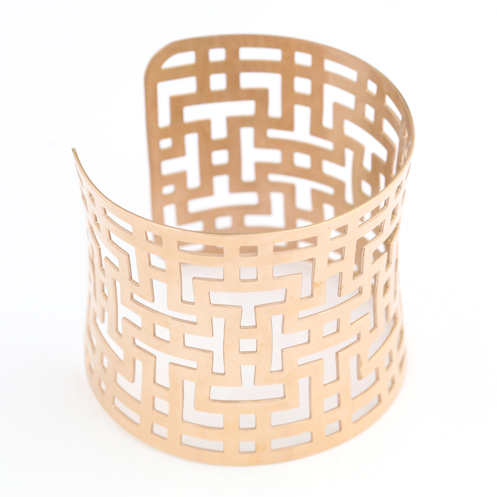 UNITED ELEGANCE Contemporary Rose Gold Tone Cuff Bracelet With Cut Out Design
