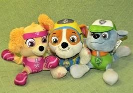 "Paw Patrol Plush Lot Skye Rubble Rocky Stuffed Animal 8"" Spin Master Puppy Dogs - $15.25"