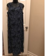 LAURA SCOTT (X-LARGE)(EUC) Blue On Blue Sleeveless Floral Long Lined Dress - $13.85