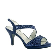 Royal Navy Blue Glitter Touch Ups Reagan Kitten Heel Formal Bridal Sanda... - $54.95