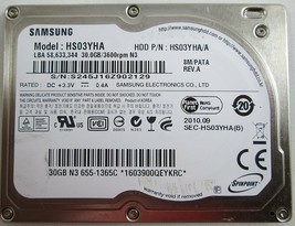 Samsung HS03YHA Spinpoint 30GB 3600RPM 2MB Buffer Ultra Mobi 1.8-inch Ha... - $15.83