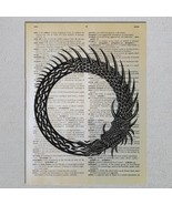 Ouroboros Norse Dragon Serpent Dictionary Page Art Print - $11.00
