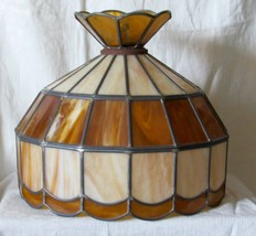 """Tiffany Style Large Stained Glass Amber/Ivory Lamp Shade 15.5"""" Bottom Op... - $93.49"""