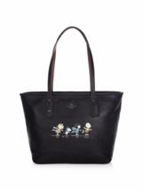 NWT Ltd. Edition Coach x Peanuts Snoopy Leather City Zip Tote black ice ... - $369.99