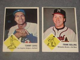 1963 Fleer Frank Bolling #44 & Tommy Davis #40 - $12.00