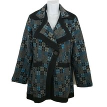 Paparazzi BIZ Wool-blend Embroidered Plaid Women's Jacket Button Coat Si... - $79.17