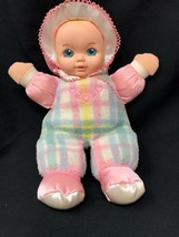 Vintage 1996 Playskool Snuzzles 5034 Pastel Plaid Baby Plush Stuffed Doll Works - $53.99