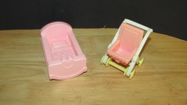Playskool victorian dollhouse pink baby stroller + cradle bed - $9.99