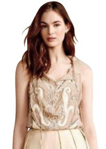 $198 Anthropologie Indian Top Medium 6 8 Taupe Embroidered Blouse Sequins Shirt - $48.30