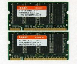 1GB (2x512MB) DDR-266 PC2100 Laptop (SODIMM) Memory RAM KIT 200-pin ***Tested*** - $15.83