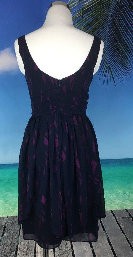 BCBG Generation Women's Dress Size 2 XS Sleeveless Blue Purple Lined V Neck 2041