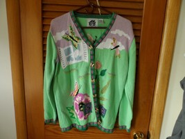 Green and pink cardigan from Storybook Knits size M with butterfly and d... - $29.00