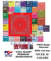 HAVAHANK 2-Sided Cotton PAISLEY BANDANNA BANDANA Head Neck Face Mask Wra... - $9.42
