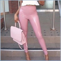 Natural Pink Faux PU Leather Shiny Stretch High Waist Skin Tight Pants Leggings  image 2