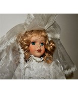 Wedding Bride Doll White Lace Dress Pearls Blonde Hair Blue Eyes Porcela... - $39.59
