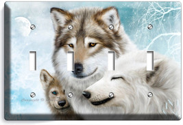 Wild Gray Wolf Family Winter 4 Gang Light Switch Wall Plate Cover Room Art Decor - $19.99