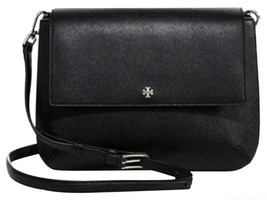 NWT Tory Burch Black Robinson Saffiano Combo Messenger Cross Body Bag - $314.81