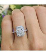 3 Carat Radiant Cut Moissanite Engagement Ring 14K White Gold Halo Ring - $519.00
