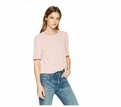 MINKPINK Women's Ribbed Short Sleeve Mesh Tee, Mauve, Small Cropped Cut ... - $23.36