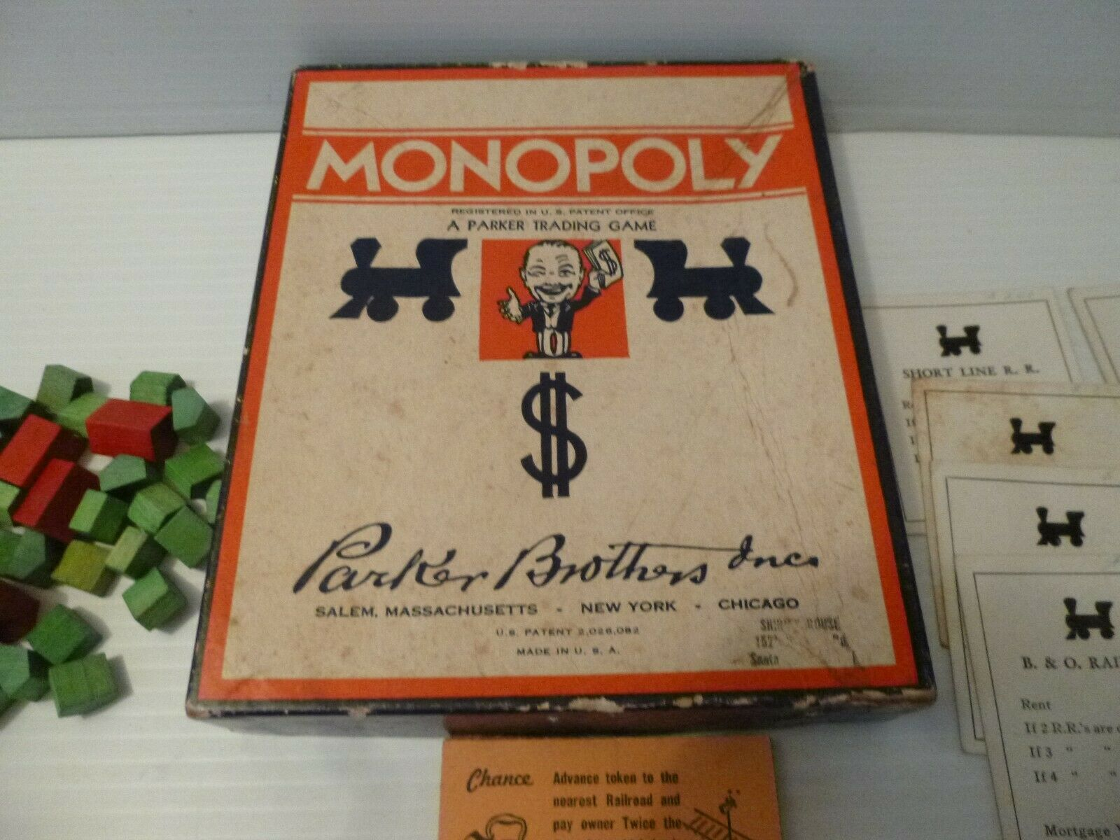 Vintage Late 1930s Monopoly Game Box wooden pieces,cards,Money