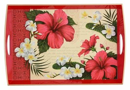 Hibiscus Blossom Large Wooden Tray Color: Red - $23.46